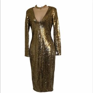 Akira Chicago black label gold sequins dress small